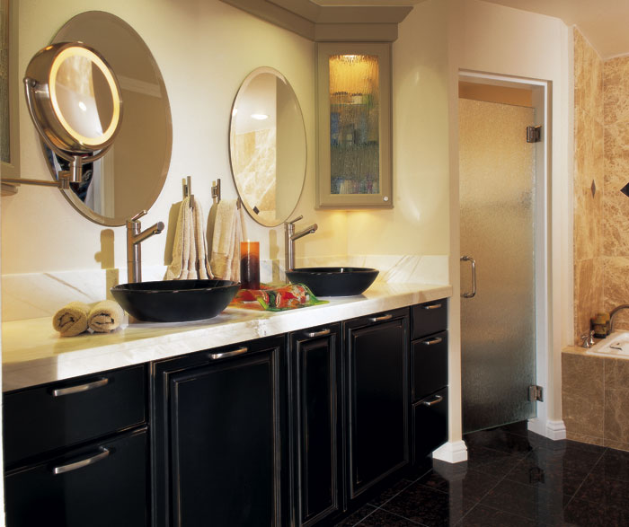 Black Bathroom Cabinets with Distressing & Omega Bathrooms