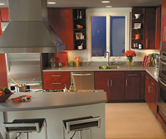Kitchens with burgundy cabinets paint that goes with for Burgundy kitchen cabinets pictures