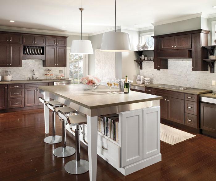Dark Cherry Cabinets With Large White Kitchen Island