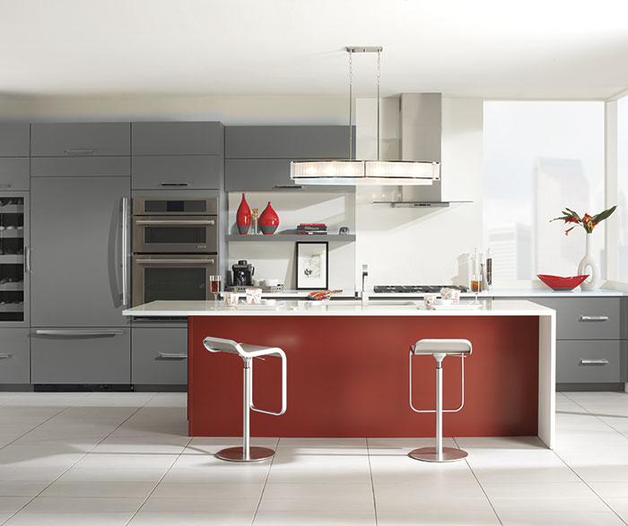 Gray Cabinets Red Kitchen Island Casa Amazonas Lancaster California
