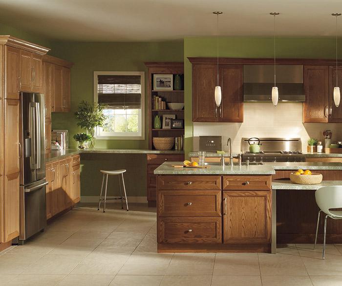 Natural_oak_cabinets_dark_kitchen_island