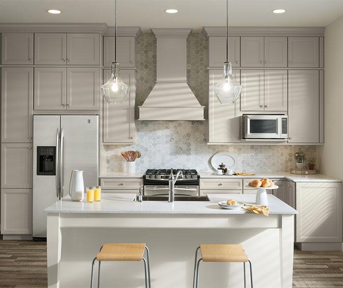 White Kitchen Cabinets With Grey Island: Aristokraft Kitchens