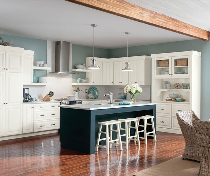 White Cabinets With Brown Glaze: White_glazed_cabinets_blue_kitchen_island
